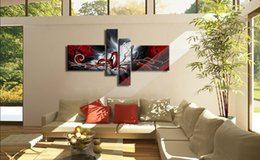 Wholesale 4 Panel Pure Hand Painted Modern Art Oil Painting The phoenix totem Home Wall Decor on High Quality Canvas in custom sizes