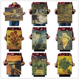 Latas de papel en Línea-Cartel del dibujo de Vincent van Gogh Cartel antiguo del papel de Kraft mate del vintage Etiqueta engomada de la pared Decora los 36 * 51.5cm (puede ser diseños mezclados)