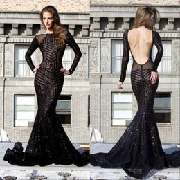 Hot Luxury Black Mermaid Long Evening Dresses Beaded Bateau Neck Long Sleeve Sweep Train Sexy Open Back Prom Dresses Gowns
