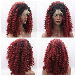 New Sexy Afro kinky curly hair cosplay black ombre burgundy curly wigs for black women glueless synthetic lace front wigs with baby hair