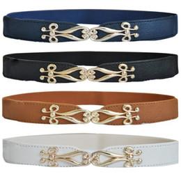Acheter en ligne Femmes boucles de ceinture gros-Vente en gros- Mode Femmes Facile Fleur Boucle en Métal Or Boucle élastique Corset Ceinture