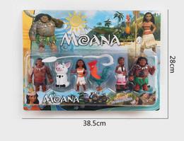 2017 películas de acción 6pcs / set Moana Princesa Maui Waialik Heihei Figuras de Acción Toy Figura de Acción Colección Modelo Películas de Juguete Cartón Embalaje PPA822 películas de acción promoción