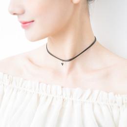 Acheter en ligne Beaux colliers-Chokers Colliers Pendentifs simple 2017 mode à la mode Corée Chocers mince collier pendentif approprié joli belle courte courte vente chaude