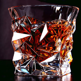 2 PCS   Set Square Crystal Whiskey Glass Cup For the Home Bar Beer Water and Party Hotel Wedding Glasses Gift Drinkware