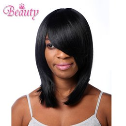 Wholesale Short Real Hair Wigs Women - eNilecor Straight Short Hair Bob Wigs 14'' with Flat Bangs Cosplay Wigs for Women Natural As Real Hair(Black) Machine making wig