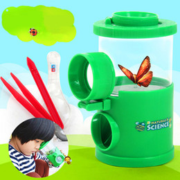 Wholesale Kids toy bugs box Magnify watch Group insects viewer Lens x Magnification Magnifier can divide into two kinfe clamp With retail box