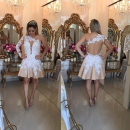 Ivory Champagne One Shoulder Mini Length Homecoming Dresses Appliqued Lace Beaded Sheer Back Long Sleeves Short Cocktail Dress