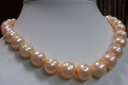 """11-13MM real natural South Sea Pink Baroque Pearl Necklace 18"""""""