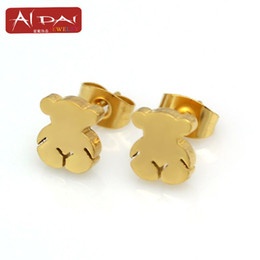 Wholesale Direct manufacturers STSt cute bear laser eye Earrings