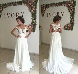 Romantic Summer Lace Beach Wedding Dresses 2017 Sheer Neck Chiffon Wedding Gowns Side Slit Bridal Dress Vestido de Noiva