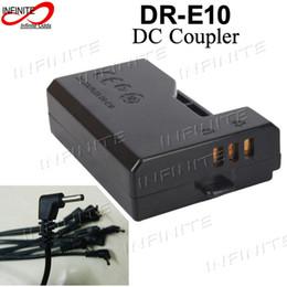 Wholesale Acoplador DR E10 de la CC de la venta al por mayor con el cable del enchufe de la CC de los cm para Canon EOS D D Rebelde T3 T5 Beso X50 Adaptador ACK E10 ACKE10