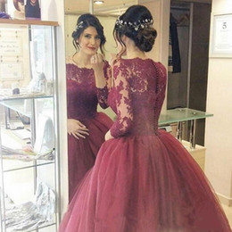 2017 New Vintage Burgundy Quinceanera Ball Gown Dresses Bateau Neck Long Sleeves Lace Appliques Sweep Train Sweet 16 Party Prom Evening Gown