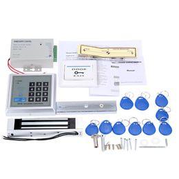 Rfid clave cerraduras de las puertas en Línea-Kit de Inicio Sistema de Control de Seguridad de acceso RFID Conjunto 180Kg de bloqueo eléctrico magnético de la puerta interruptor de suministro eléctrico con 10pcs ID de la llave llaveros de