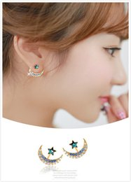 Cute Star & Moon Earrings Studs with Multicolor Zircon for Women and Girls By Hcish Jewelry H0574
