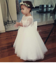 Real Princess Ball Gown Flower Girl Dresses Long Sleeve Floor Length Puffy Tulle Lace Top Kids Dress For Wedding