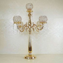 Free Shipping Gold Silver Plated Crystal 5-arms Metal Candelabras Candle Holder Wedding Decoration
