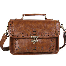 Wholesale Women s Brown Vintage Leather Briefcase Luxury Women Document Briefcase Durable Executive Briefcase Small Lawyer Postman Bag