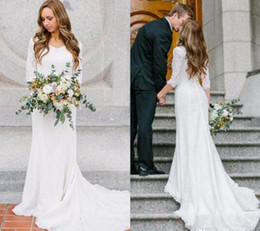 Vintage Modest Wedding Dresses With Long Sleeves Bohemian Lace Chiffon Wedding Gowns 2017 Country Wedding Dress