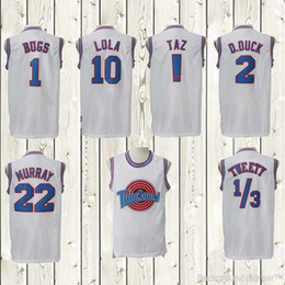 Wholesale Stitched Movie Space Jam Tune Squad White Jersey Men Michael Bugs Lola Tweety Shirt Sport Promotion Cheap