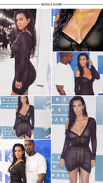 2017 robes moulantes kardashian Gagaopt Kim Kardashian Robes de soirée Deep V-Neck sexy noir Mesh Robe Femmes plissé Draw String Bodycon Robe Robes peu coûteux robes moulantes kardashian