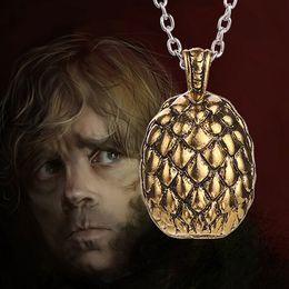 Game Of Thrones Dragon Egg Pendant Necklace Golden Tone Film Jewelry Gift SLZJ16021G