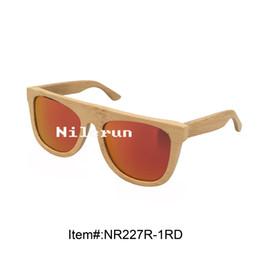 stylish big red polarized lens bamboo frame sunglasses
