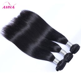 Peruvian Straight Virgin Human Hair Weave Bundles Unprocessed Peruvian Remy Human Hair Extensions Natural Black Double Wefts Can be Dyed