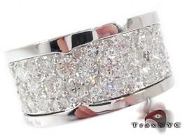Mens Diamond Ring Round Cut F Color 14k White Gold 8.50ct
