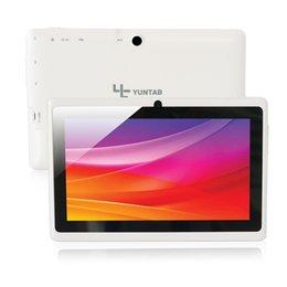 Couleur dual quad en Ligne-Vente en gros Yuntab Q88 7 pouces Wifi couleur blanche Tablette Android 4.4, Quad Core, 8G ROM 1G RAM, double caméra, 3G externe, Allwinner A33 comprimé