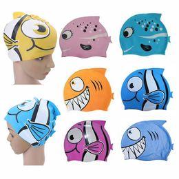 Promotion poissons de silicone pour la pêche Vente en gros- Nouveaux enfants de dessin animé de natation Cap Silicone de plongée étanche Swim Hat Enfants Fille Garçon de baignade PAC avec des poissons Shark Pattern