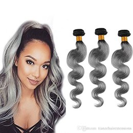 "Grade 8A Body Wave Ombre Color Brazilian Human Hair Weaves T1B Gray 12""-28"" Optional 3Bundles 100g pc 100% Virgin Human Hair Extensions"
