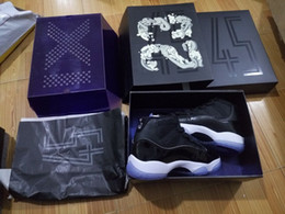 With Box 11 Mens basketball shoes 2016 Space jam 45 Gym Red Patent Leather + Nylon Black Concord Air 11s Women trainer Midnight Navy