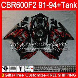 8 Gifts 23 Colors For HONDA CBR600F2 91 92 93 94 CBR600RR FS red flames 1HM44 CBR 600F2 600 F2 CBR600 F2 1991 1992 1993 1994 black Fairing