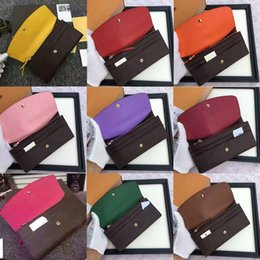 Wholesale 2017 lady luxury brand leather multicolor coin purse long wallet colourfull Card holder original box women classic zipper pocket