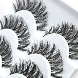 cils de scène Promotion À la main 5 paires de cils faux Pochettes transparentes naturelles Lashes Crisscross Messy Fake Eyelashes Beauty Makeup Stage Cils