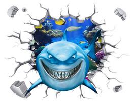 3D Removable wall stickers Jungle wallpaper 3D shark Waterproof fresco Waterproof stickers