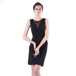 Promotion robe de conception de cristal courte Nouveau design de bonne qualité Robes de soirée noires Sweat à capuche sans manche Ladies Short Dress Back Split Livraison gratuite