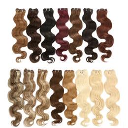 100 Human Hair Extensions Body Wave Brazilian Hair Weft #1B black #18 Brown #27 Blonde Soft Human Hair Weave