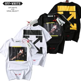 EU Size 2017 New High Quality Off White Religion T Shirts Real Tag 1:1 Men Women Black Angel Painting Print Off-white 100%Cotton T-shirt