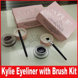Kylie Jenner cosmetics Kyliner Waterproof Nourish Double Color Gel Eyeliner + Brushes kit Makeup eyeliner Suit with pink package