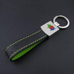 Wholesale custom made printing logo promotional metal PU genuine leather keychain