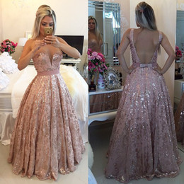 Wholesale Sparkly Long Beaded Evening Dresses Sheer Illusion Tulle Neck Lace Sexy Open Back Formal Evening Gowns Cheap Party Prom Dress Online