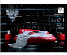 Wholesale Designer modern genuine real leather soft bed double bed king queen size bedroom home furniture round bed modern style