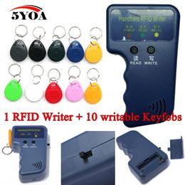 Wholesale Handheld KHz EM4100 RFID Copier Writer Duplicator Programmer Reader EM4305 Rewritable ID Keyfobs Tags Card T5577