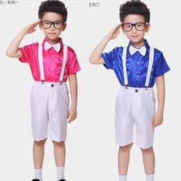 Boys Short Sleeve Ballroom Jazz Modern clothes Hip Hop Dance Competition Costume Set Dance wear Dancing Outfits Top Pants