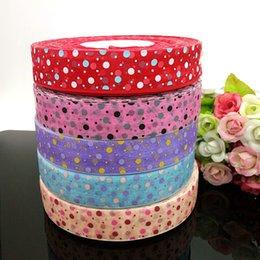 """10 yards 1"""" organza ribbon printed dots DIY Weaving wedding christmas decorations for making hair bows R007"""