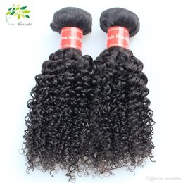 Acheter en ligne Bouclés tisse coiffures-Virgin Peruvian Hair Bundles Curly Weave Cheveux Humains Tissage Peruvian Kinky Curly Cheveux Vierges 4 Lots Lot Coiffure bouclée