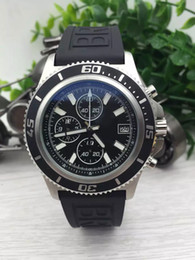 Wholesale best service top brand watches men superocean ii herie watch rubber belt watch quartz chronograph battery watch men dress wristwatches