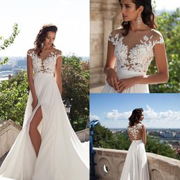 2017 Sexy Illusion Cap Sleeves Lace Top Chiffon A Line Wedding Dresses Tulle Lace Applique Split Summer Beach Bridal Gown With Buttons