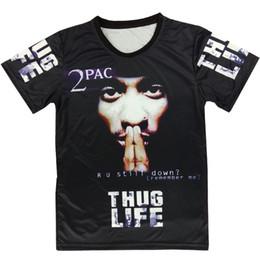 Shirt de douille d'impression des animaux gros en Ligne-Vente en gros Raisevern harajuku été t-shirt 3D t-shirt tupac 2pac thuglife t-shirt hommes / femmes t-shirt hiphop punk t-shirt à manches courtes plus la taille